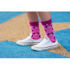 4lck pink socks with Mouth and tongue, funny colourful socks