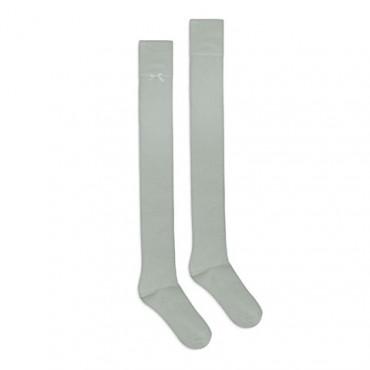 Bamboo grey overknee socks with bow 4lck.com