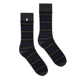 Classic bamboo socks with blue and gray stripes 4lck.com