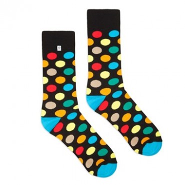 Funny socks with Colourful dots for suit and jeans