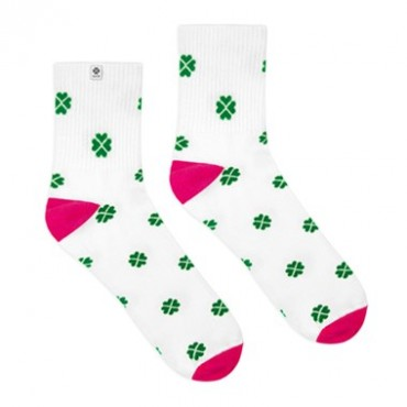 4lck white socks with green lucky four-leaf Clover, socks for luck