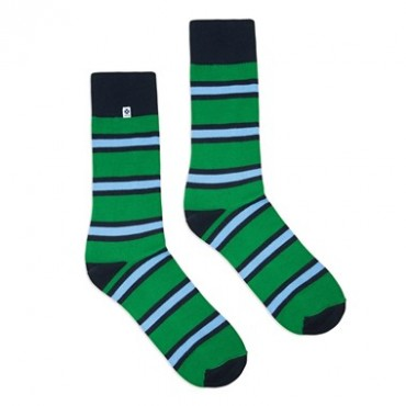 4lck Green Socks with blue stripes, colourful socks for suit and jeans