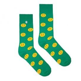 4lck zielone śmieszne skarpetki w żółte emotykony, buźki, uśmieszki
