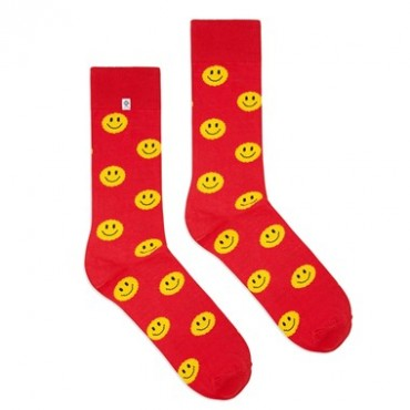 4lck funny red socks with yellow emoticon, smile