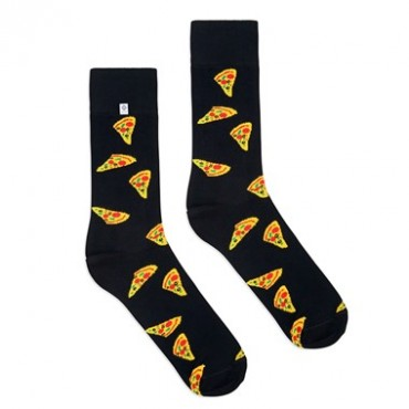 4lck black socks with Pizza motif, funny socks