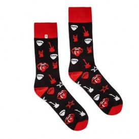 4lck black socks with red Rock & Roll symbols - guitar, mouth, music