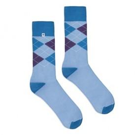 4lck błękitne skarpetki w niebieskie romby, modne męskie skarpety