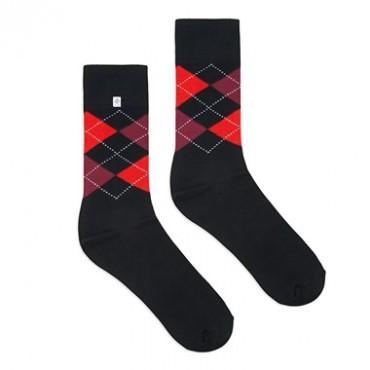 4lck czarne męskie Skarpetki w czerwone romby, kolorowe skarpetki do garnituru