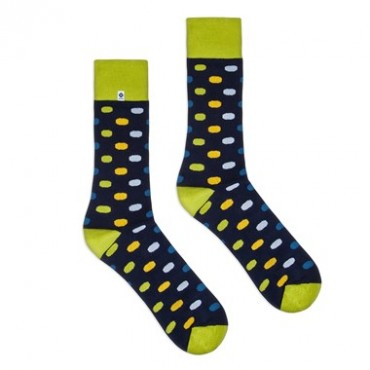 4lck dark blue socks with green welt and colourful dots