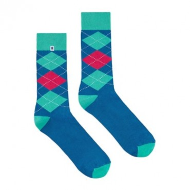 4lck Blue socks with pink and mint diamonds for blue suit