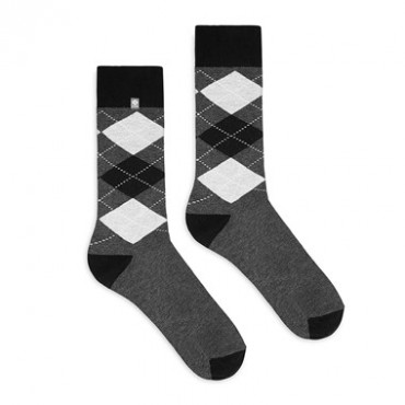 4lck Gray socks with black diamonds, for men suit