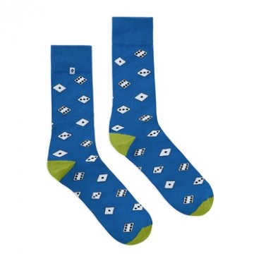 4lck blue funny socks with Dices motif, gambling