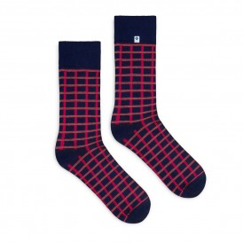 Blue socks with red checker