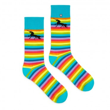 4lck rainbow stripe socks with black unicorn on the uppers
