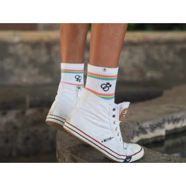 4lck white socks with rainbow stripes and inscription Free Planet, Unisex, lgbt socks
