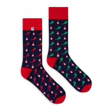 4lck socks Red and green Chili Pepper and hot sauce on blue background, for girl