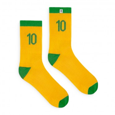 4lck yellow Football Socks with green number 10 - Brazil