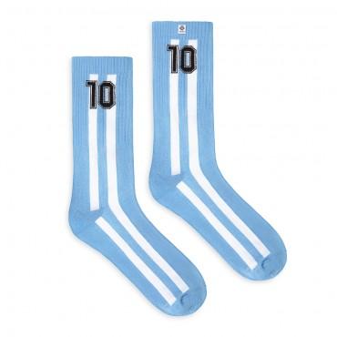 4lck błękitne Skarpetki z białymi pionowymi pasami i czarnym numerem 10 - Piłka nożna - Argentyna