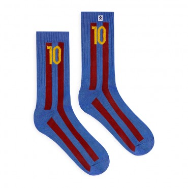 4lck blue Socks with vertical maroon stripes and number 10 - football - Barcelona