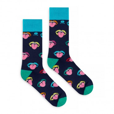 4lck socks with colourful Mouth and tongue on dark blue background