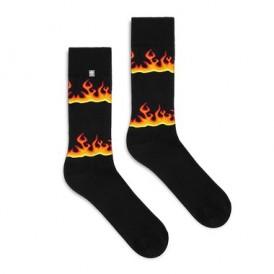 Skarpetki Fire w płomienie, ogień na czarnym tle, dla mężczyzn, kolorowe