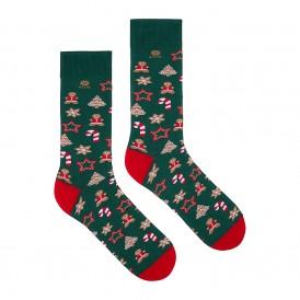 Skarpetki świąteczne zielone męskie - pierniczki, gwiazdki i ozdoby choinkowe