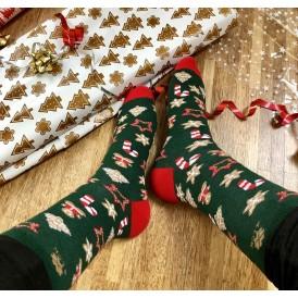 Skarpetki świąteczne zielone męskie