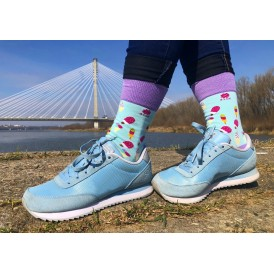 Celadon green pistachio funny socks with colourful ice cream and violet cuff