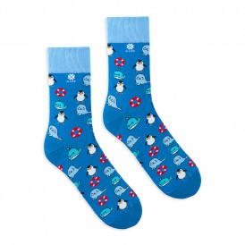 4lck colorful socks with sea animal, whale, seal, pinguin and lifebuoy