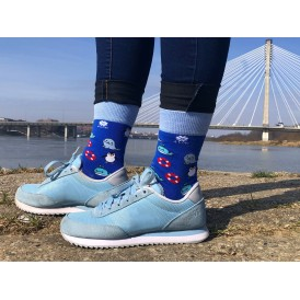 4lck Sea blue socks with whale, seal, pinguin and lifebuoy