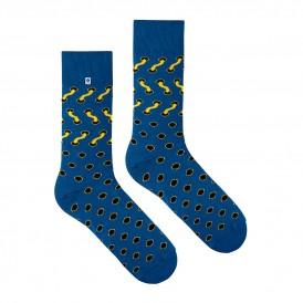 4lck modne niebieskie skarpetki z czarnymi kropkami i żółtymi sznurówkami