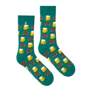 4lck green funny socks with Beer and pretzel