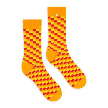 4lck yellow orange red checkered socks