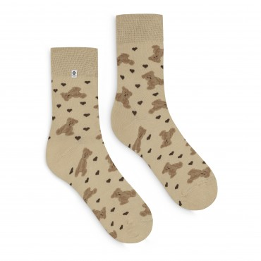 4lck Cafe latte cosy socks with brown Teddy Bear
