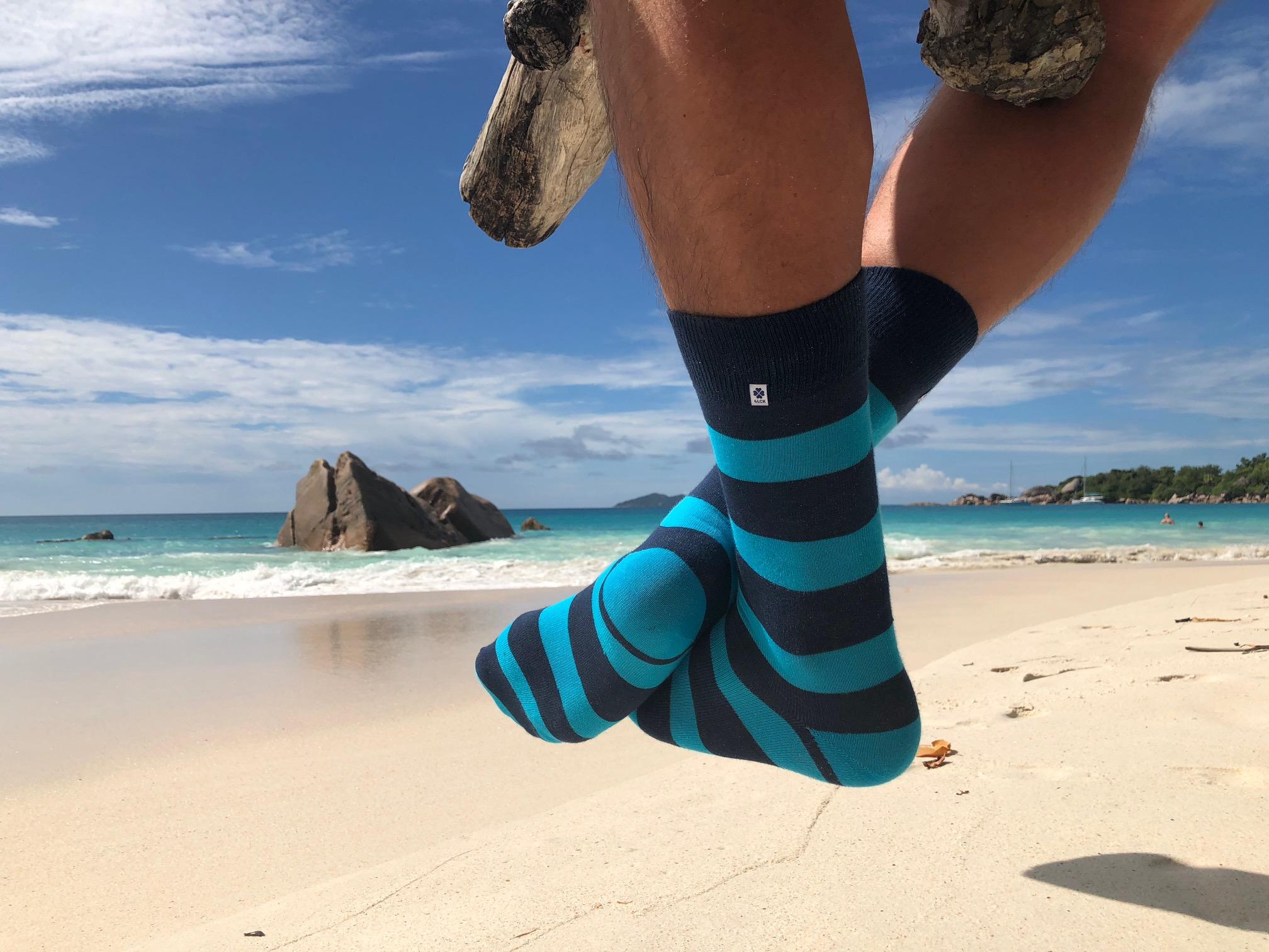 4lck Blue stripes socks - Praslin, Seychelles