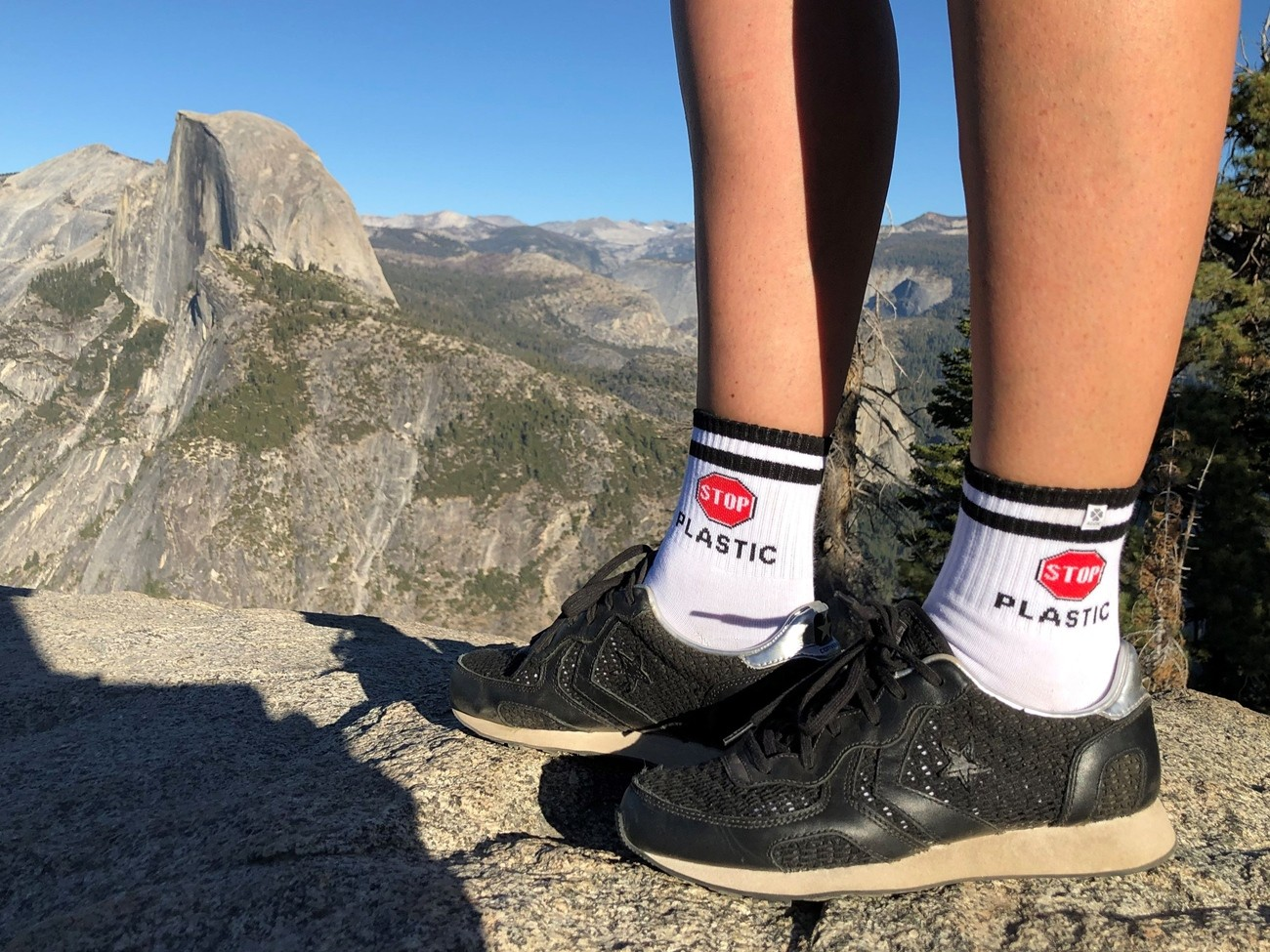 4lck fashion socks Stop Plastic, on the view of Half Dome in Yosemite Park